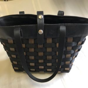 Longaberger Black/Brown Woven To-Go tote/hand bag